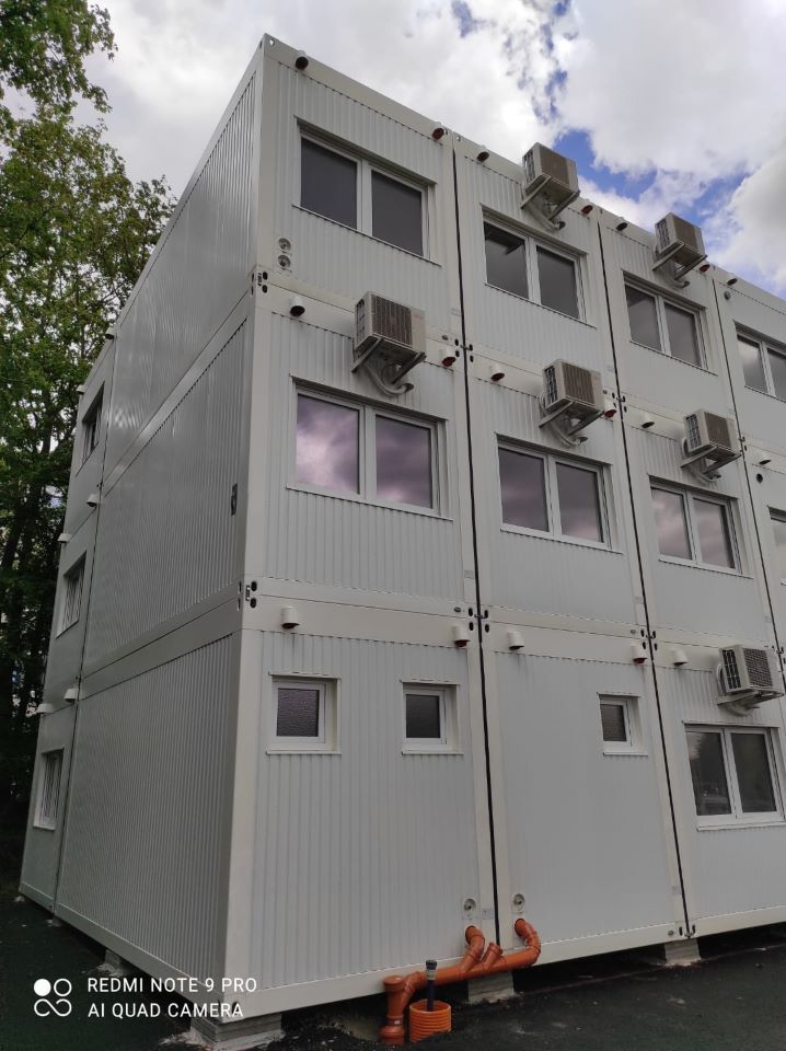 Modular buildings, background for the construction of the hospital