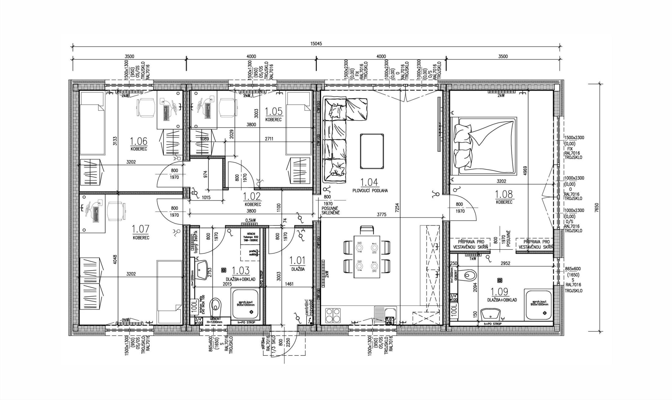 Schéma rodinný dům L